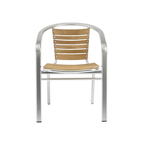 - Euro Style Shirley Side Dining Chair with Arms, Set of 6, Teak Seat and Back with Aluminum Frame