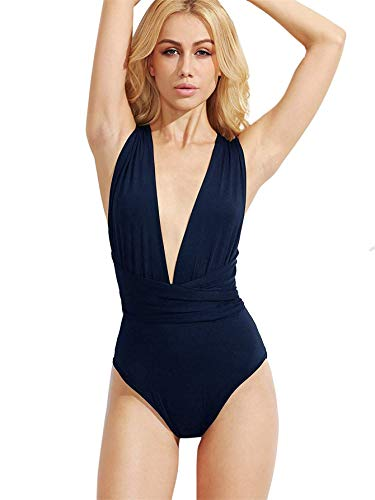 (Verdusa Women's Sleeveless Sexy Deep V Neck Cross Back Bodysuit Navy L)