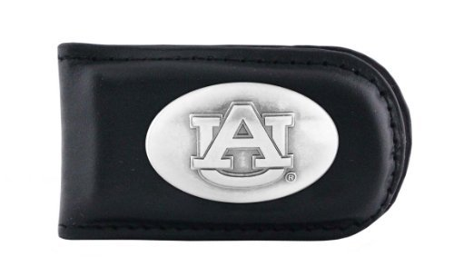 NCAA Auburn Tigers Black Leather Magnet Concho Money Clip, One Size ()