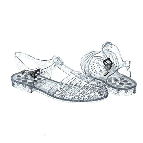 Womens Elegante Estate Stile Glitter Gelatina Sandali Piatti Clearglitter