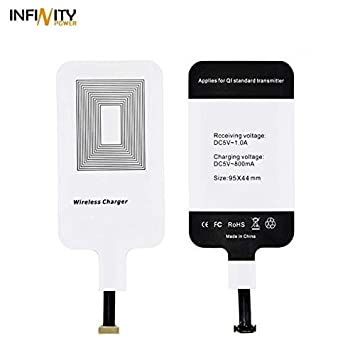INFINITYPOWER Qi Receptor Adaptador Carga inalámbrica para Apple iPhone, Samsung, Android Wireless Charging Receiver Patch Cargador rápido Tarjeta ...