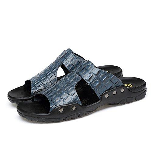 Textura BINODA de EU Azul Antideslizante Sandalias cocodrilo Pantuflas Cuero sintética Piel de de de 44 Hombres tamaño de Pantuflas Color de Playa Genuino los Azul 7grwx7S