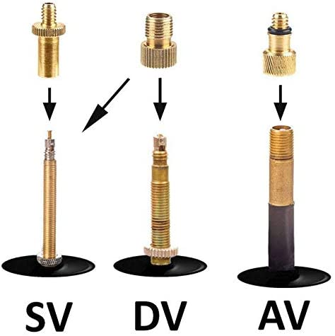LIANGZHILIAN 15pcs//Set Bicycle Valve Adaptors Bicycle Pump Air Valve Converter Bike Copper Pump Adapter Set DV AV SV Valve Adapter for Bike Tire Inflator /…