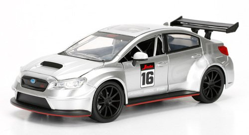 NEW 1:24 JADA TOYS DISPLAY JDM TUNERS COLLECTION - SILVER 2016 SUBARU WRX STI WIDEBODY Diecast Model Car By Jada Toys (WITHOUT RETAIL BOX)