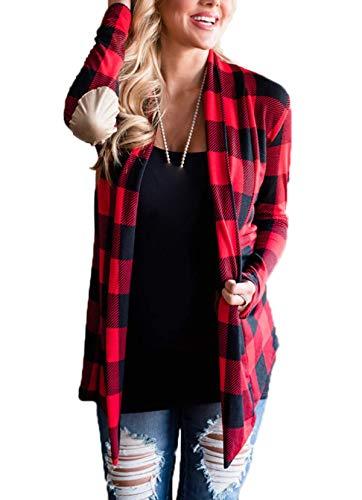 Donna Lunga Quotidiani Rosso Outerwear Camicie Quadri Casual Cardigan Giacca Tops A Primavera Bluse Manica Cime E Cappotti Moda Autunno W1rwA1YUS