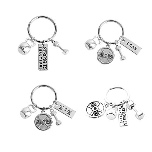Unisex Stainless Steel Fitness Keychains With Quotes Weight Plate Dumbbell Kettlebell Charms Keyring 4 Pcs Set by JiangYan-US