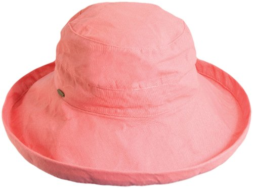 Cotton Pink Ribbon Hat - Scala Women's Cotton Hat with Inner Drawstring and Upf 50+ Rating,Salmon,One Size