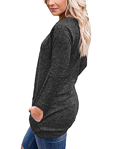 Hauts De Col Rond Simple Slim Et Noir mode Femmes Molletonnés Casual Longues Mode Camisetas Manches shirt Automne T Blouse Pulls Printemps 6wZXqwY