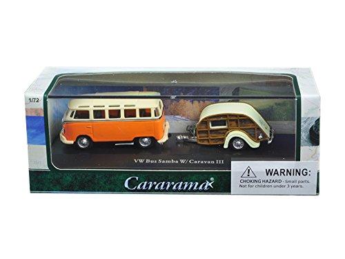 (Cararama CARA12818 Volkswagen Bus Samba Orange with Caravan III Trailer in Display Showcase 1/72 Diecast Car Model)
