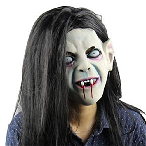 Renaisi Creepy Scary Halloween Head Mask Latex Horror Headgear Toothy Sadako Zombie Ghost with Hair Haunted Mask for Cosplay Party Costume Prop Fancy Dress Party Decorations]()