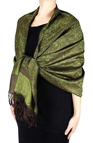Peach Couture Elegant Vintage Two Color Jacquard Paisley Pashmina Shawl Wrap Forest Green and Brown Dark Brown Forest Green