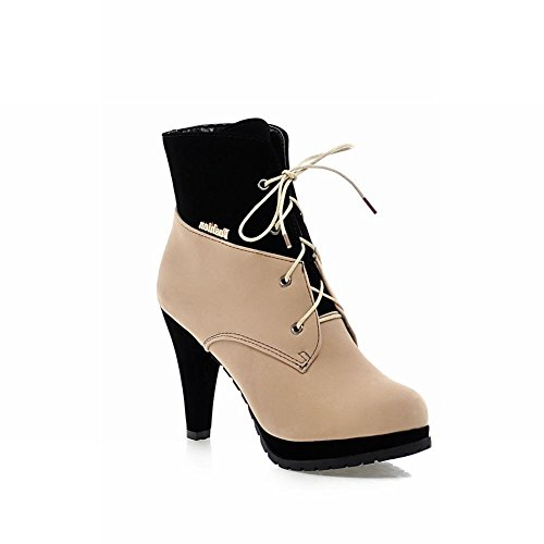 up Multicolor Fashion Martin Platform high Womens Suede Beige Ankle Lace High Latasa heel Boots PnFvxTwqWc