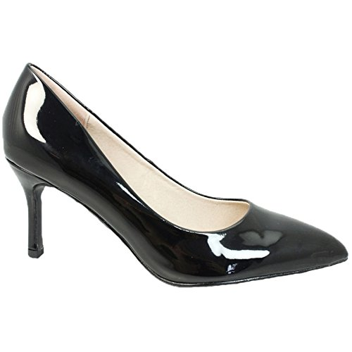 Sapphire Boutique FLC090 Petal Padded Insole Pointed Toe Court Patent Mid Heeled Formal Shoe Black (Shoe Only) c92sgZV1