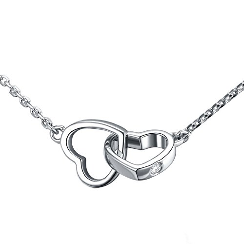 Linked Hearts Necklace - Paialco Sterling Silver Linked Hearts Love Pendant Necklace for Valentine