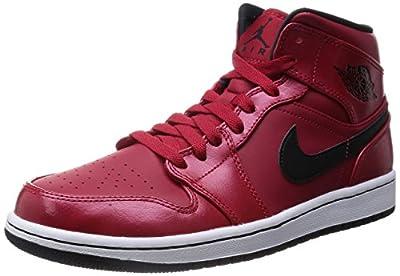 Nike Men's Air Jordan 1 Mid Gym Red/Black/White Basketball Shoe - 11.5 D(M) US