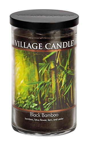 - Village Candle Black Bamboo 24 oz Glass Tumbler Scented Candle, Large