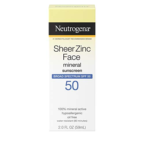 Neutrogena Sheer Zinc Oxide Dry-Touch Face Sunscreen with Broad Spectrum SPF 50, Oil-Free, Non-Comedogenic & Non-Greasy Mineral Sunscreen, 2 fl. oz (Best Sun Protection For Face 2019)