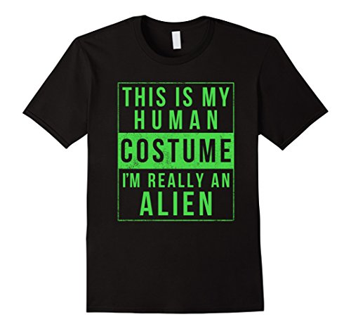 Aliens Halloween Costumes (Mens Alien Halloween Costume Shirt Funny UFO Easy for Kids Adults Small Black)