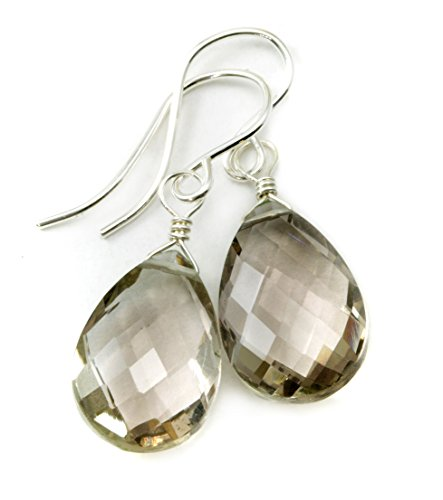 Sterling Silver Smoky Quartz Earrings Faceted Pear Smokey Teardrops Dangles