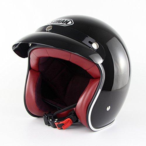 Ocamo Estilo Vintage Vintage Motocicleta Retro Medio Casco Cruiser 3/4 Cara Abierta Scooter Head Protector