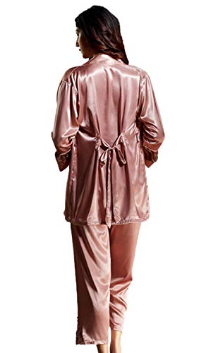 Rosa Mujeres Otoño Larga De Pijamas Y Manga Dormir Camisón Cómodo Ropa Suave Primavera Las w1OWA