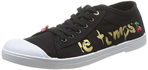 Le Temps des Cerises - Zapatillas de tela para mujer Black (Painting Black/Gold)