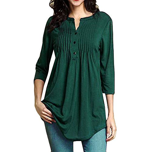 Sunmoot Clearance Sale Tunic for Women Elegant Blouse Vintage Printed 3/4 Sleeve O-Neck Summer Casual Dress T-Shirt Tops H-Green