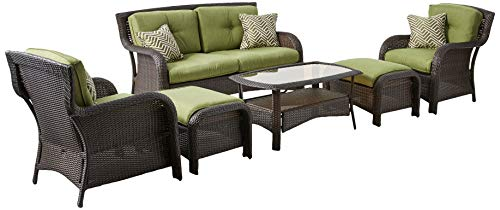 Hanover STRATHMERE6PC Strathmere Cilantro Green Outdoor Patio 6-Piece Lounge - Resin Furniture Wicker Collection