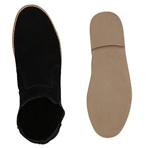 Stiefelparadies Herren Chelsea Boots Echtleder Schuhe Stiefeletten Holzoptikabsatz Flandell Schwarz Basic