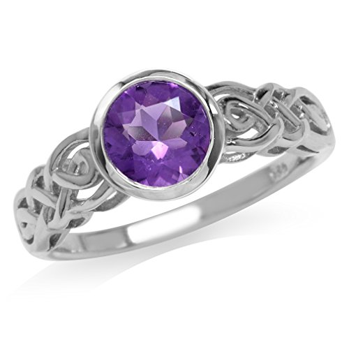 1.19ct. Natural African Amethyst White Gold Plated 925 Sterling Silver Celtic Knot Solitaire Ring Size 7.5 Amethyst Solitaire Ring