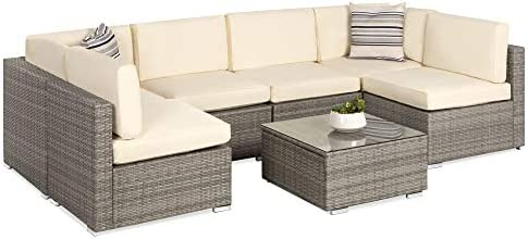 Choice Products 7-Piece Modular Outdoor Sectional Wicker Patio Furniture Conversation Set w/ 6 Chairs
