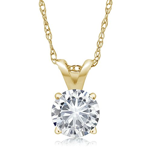 Charles & Colvard Forever Classic 4.5mm 0.33ct DEW Created Moissanite 14k Yellow Gold Solitaire Pendant Round 4 Prong With 18inches 14K Yellow Gold Chain