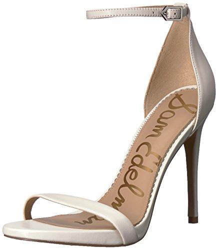 White Leather Strap Sandal - Sam Edelman Women's Ariella Heeled Sandal, Bright White Leather, 7 M US