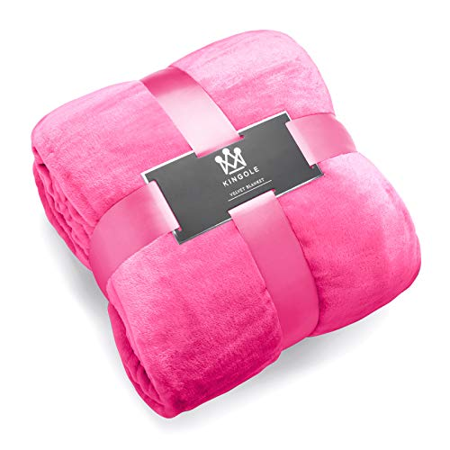 Kingole Flannel Fleece Microfiber Throw Blanket, Luxury Rose Pink Twin Size Lightweight Cozy Couch Bed Super Soft and Warm Plush Solid Color 350GSM (66