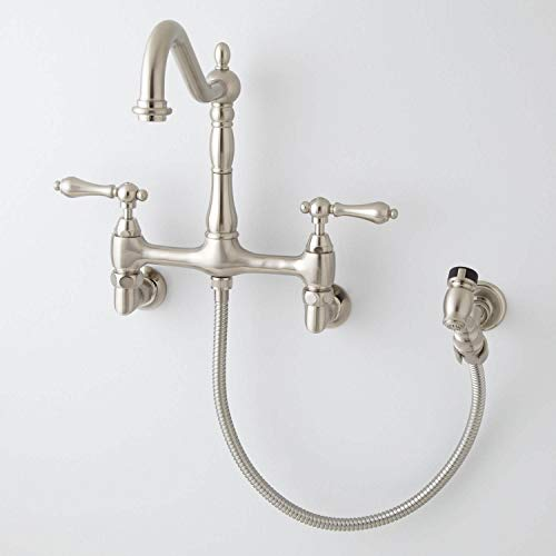 Felicity Kitchen - Signature Hardware 394348 Felicity 1.8 GPM Double Handle Wall Mounted Bridge Kitchen Faucet with Side Spray