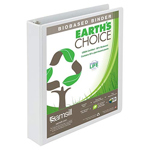 (Samsill Earth's Choice Biobased Durable 3 Ring View Binder, 1.5 Inch Round Ring, Up to 25% Plant Based Plastic, USDA Certified Biobased, White)