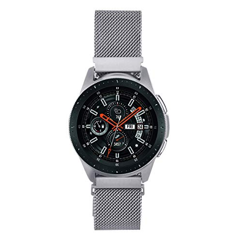 V-MORO Strap Compatible with Galaxy Watch 46mm Bands/Gear S3 Classic Band Silver 22mm Loop Mesh Stainless Steel Bracelet Replacement for Samsung Galaxy Watch 46mm/Gear S3 Smartwatch 5.5