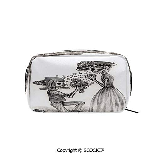 - Printed Portable rectangle Makeup Cosmetic Bag Mariage Proposal Till Life do us Apart Dead Day Festive Print Durable storage bag for Women Girls