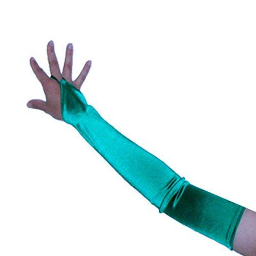 SACAS Long Fingerless Satin Gloves in Green One Size - Poison Ivy Gloves