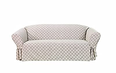 Sure Fit Plaid 1-Piece with Ties - Sofa Slipcover - Beige (SF44789)
