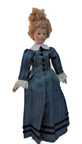 Melody Jane Dollhouse Victorian Lady Striped Dress Miniature People Porcelain
