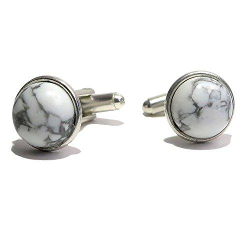 Circle White Cufflinks (Satin Crystals Howlite Cufflinks 12mm Boutique White Gray Gemstone Polished Circle Metal Pair B01 (silver-plated-brass))