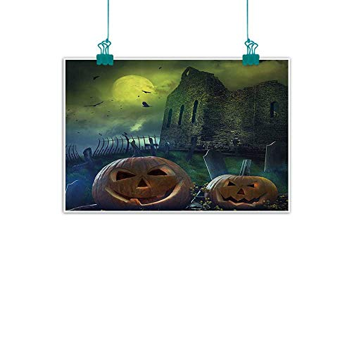 WinfreyDecor Halloween Decorations Light Luxury American Oil Painting Pumpkin in Spooky Graveyard in Old Stone Haunted House in Dark Night Home and Everything 28
