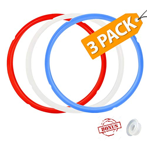 House Again 3 Pack Silicone Sealing Ring with Bonused Sealer - Instapot Silicone Seal Ring Replacement - Color Coded with 3 Different Colors - Perfect Accessory for 5/6 qt Instant Pot (8 Qt avalible)