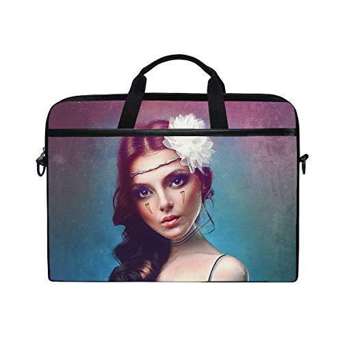 (Girl Art Digital Art Laptop Shoulder Messenger Bag Case Sleeve for 14 Inch to 15.6 Inch with Adjustable Notebook Shoulder Strap)