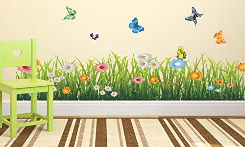 Wallzone Green Grass Graden Wallstikcer (Vinyl 60 cm x 110 cm)