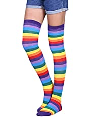 SUPSweet Candyy Extra Long Cotton Stripe Thigh High Socks Over The Knee High Plus Size Stockings
