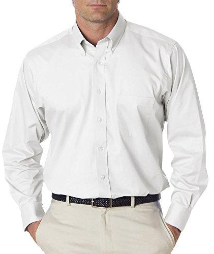 Van Heusen Men's Long Sleeve Relaxed Twill Dress Shirt, Wht, Medium ()