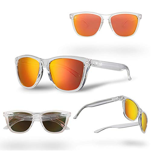 - WOOSH Polarized Lightweight Sunglasses for Men and Women - Orange Lens & Clear Matte Frame - Unisex Sunnies for Fishing, Beach and Outdoors