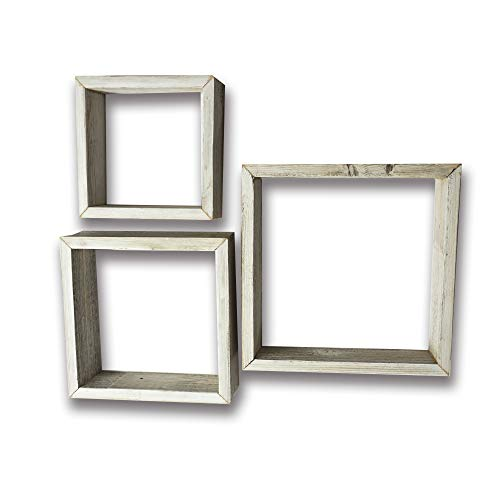 Farmhouse Style Rustic Wood Shadow Box Frames - Reclaimed Weathered Wood - Barn Wood Character (Whitewash, Square)